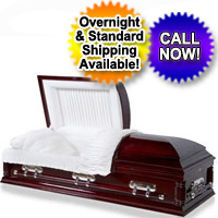 OVERSIZED 18 Gauge Steel Casket (Mahogany Finish)