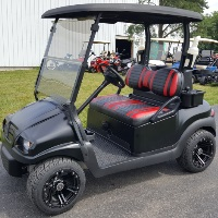 48V Electric Satin Black Phantom Golf Cart Club Car Precedent w/ Street Legal Light Kit & Custom Rims