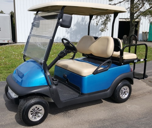 48V Metallic Blue Club Car Precedent Electric Golf Cart w/ Street Legal  Light Kit