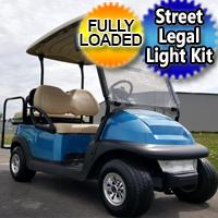 48V Metallic Blue Club Car Precedent Electric Golf Cart w/ Street Legal Light Kit