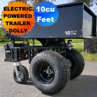 Motorized Cart Electric Powered w/ Trailer Dolly - 10cu Feet Steel Bed