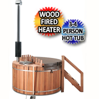 3-4 Person Red Cedar Hot Tub With Wood Fired Stove - WHT-WI1809