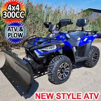 New Style MSA 300cc 4x4 ATV With Snow Plow UTV - Utility Style Vehicle Four Wheel Drive - Blue