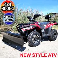 New Style MSA 300cc 4x4 ATV With Snow Plow UTV - Utility Style Vehicle Four Wheel Drive - Red
