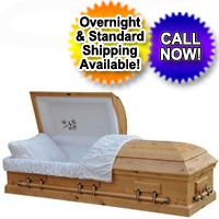 OVERSIZED 18 Gauge Steel Casket - Natural Pine Finish