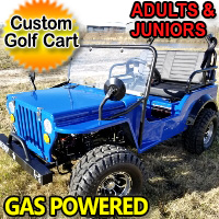 Gas Golf Cart jeep Mini Truck ELITE Edition - Lifted With Custom Rims And Fender Flares - Blue