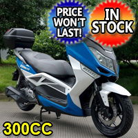 """300cc T9 Scooter Moped Fully Automatic w/ 13"""" Alum Wheels"""