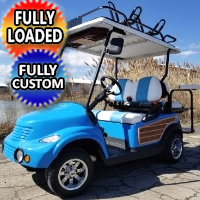 PT Cruiser Woody 48v Electric Golf Cart With Flip Seat Radio & Street Legal Package