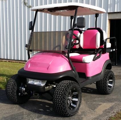 48v Pink Lifted Electric Club Car Golf Cart