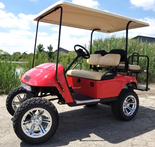 13 HP Kawasaki EZ-GO Red 4 Seater Gas Golf Cart Lifted With Extended Roof &  Rear Flip Seat