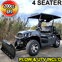 Rancher Rover UTV With Snow Plow 200 EFI Gas Golf Cart Utility Vehicle ATV With Automatic Trans. & Reverse - Gray