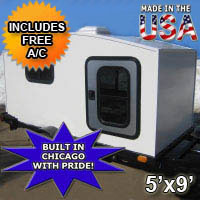 Camper Trailer Mini Camper Toy Hauler WonaDayGo 5' x 9' Enclosed Camper Tailgate Trailer - Made in the USA