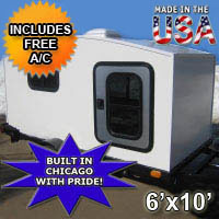 Camper Trailer Mini Camper Toy Hauler WonaDayGo 6' x 10' Enclosed Camper Tailgate Trailer - Made in the USA