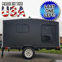 Camper Trailer Mini Camper Toy Hauler WonaDayGo 4' x 8' Black 1-2 Person Enclosed Camper Tailgate Trailer - Made in the USA