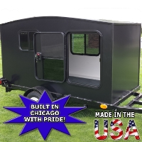 WonaDayGo 4' x 8' Black 1-2 Person Enclosed Camper Trailer - Made in the USA
