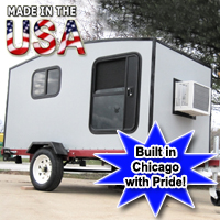 Camper Trailer Mini Camper Toy Hauler WonaDayGo 4' x 8' 1-2 Person Enclosed Silver Camper Tailgate Trailer - Made in the USA
