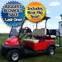48V Cherry Red Electric Club Car Precedent Electric Golf Cart w/ Rear Flip Seat