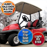 Red Golf Cart Club Car Precedent with Custom Black and Red Seats