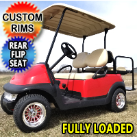 Red Buck 48V Electric Golf Cart Club Car Precedent With Custom Rims & Flip Seat