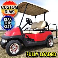Red Buck 48V Electric Golf Cart Club Car Precedent With Custom Rims & Flip Seat