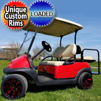 48V Electric Club Car Precedent Golf Cart Red Devil With Custom Rims And Flip Seat