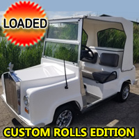 Custom Rolls Edition Electric Golf Cart With Lights Cooler & Fan - Loaded