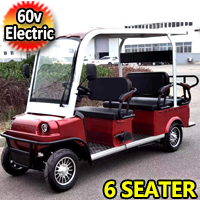 6 Seater Electric Golf Cart Limo LSV Low Speed Vehicle Six Passenger - 60v Skyline Transporter - Red
