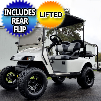 EZ GO TXT Gas Golf Cart Lifted w/ Rear Flip, Custom Rims & Tires - Silver