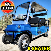 Electric Golf Cart Limo LSV Low Speed Vehicle Six Passenger - 60v Skyline Transporter - Blue