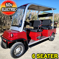 Electric Golf Cart Limo LSV Low Speed Vehicle Six Passenger - 60v Skyline Transporter - Red
