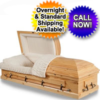 Solid Wood Casket With Natural Pine Finish