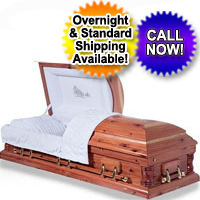 Solid Wood Casket With Natural Red Cedar Finish