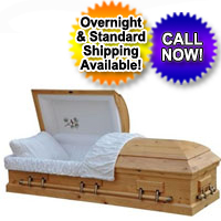 Solid Wood Casket With Natural Finish