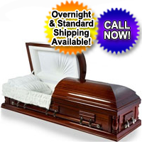 Solid Wood Casket With High Gloss Cherry Finish