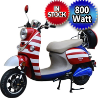 800W Boom Patriot 48V Electric Moped Scooter w/ 573N Brushless Motor