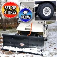 "EZ GO Snow Plow Golf Cart Combo Set of 4 Monster Grip Tires & 49"" Plow Bundle Kit"