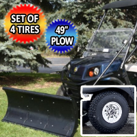 "Club Car Precedent Snow Plow Golf Cart Combo Set of 4 Monster Grip Tires & 49"" Plow Bundle Kit"