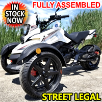 200cc Tryker Trike Scooter Gas Moped Fully Automatic with Reverse - JassCol 200 Trike - White