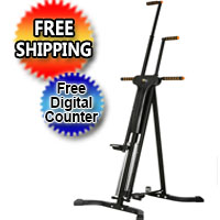 Black Vertical Climber Cardio Workout Fitness Climbing Training Machine w/ Digital Timer