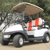 White 48v Club Car Precedent Golf Cart w/ Custom Orange & White Seats