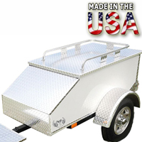 "Motorcycle/Car Pull Behind Trailer 60"" X 28"" X 19"" Aluminum White Plate Enclosed Motorcycle / Car Trailer"
