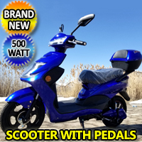 500 Watt Wizzer Electric Motor Scooter Moped With Pedals - YW 182-BLUE