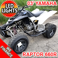 2003 Yamaha Raptor 660R Atv Four Wheeler Quad With LED Lights & Nerf Bars