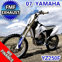 2007 Yamaha YZ250F Dirt Bike 5 Speed Constant Mesh With Kick Start & FMF Exhaust