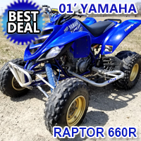 2001 Yamaha Raptor 660R Atv Four Wheeler Quad - Best Deal!