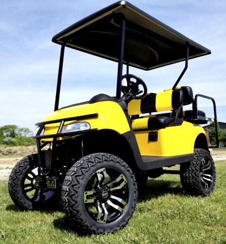 EZGO 48 Volt Rxv Custom Yellow Golf Cart 2 Tone Seats & 6