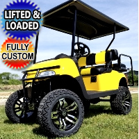 "EZGO 48 Volt Rxv Custom Yellow Golf Cart 2 Tone Seats & 6"" Lift"