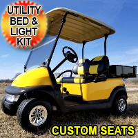 48v Electric Mellow Yellow Club Car Golf Cart w/ Custom Seats Light Kit & Utility Bed