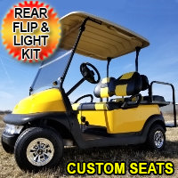 48v Electric Mellow Yellow Club Car Golf Cart w/ Custom Seats Light Kit & Flip Seat