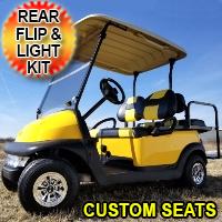 48v Electric Mellow Yellow Club Car Golf Cart w/ Custom Seats Light Kit & Flip Seat